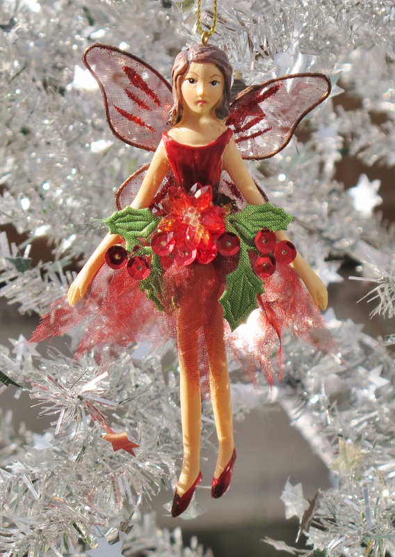 Gisela Graham Poinsettia Fairy Christmas Tree Decoration