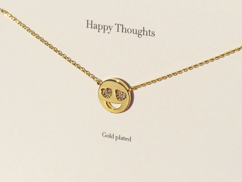Estella Bartlett Heart Eye Emoji Gold Plated Crystal Necklace New