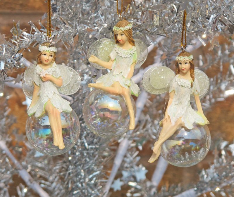 Gisela Graham Three Fairy Angel Bauble Snowdrop Christmas